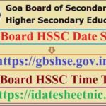 Goa Board HSSC Final Date Sheet 2021