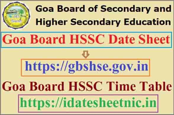 Goa Board HSSC Date Sheet 2022