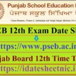 PSEB 12th Exam Date Sheet 2021