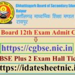 CG Board 12th Exam Admit Card 2020