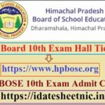 HP Board 10th Exam Hall Ticket 2021