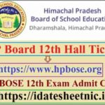 HP Board 12th Exam Hall Ticket 2021