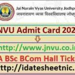 JNVU BA BSc BCom Exam Hall Ticket 2021