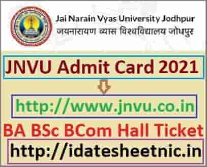 JNVU Admit Card 2021