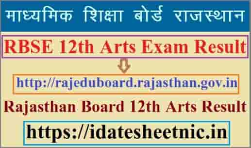 RBSE 12th Arts Result 2021 Name Wise