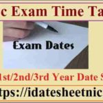 BSc Exam Time Table 2020