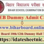 BSEB 10th 12th Class Dummy Admit Card 2021