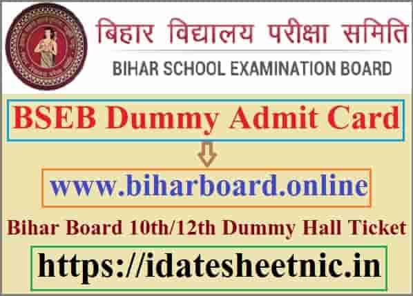 BSEB Dummy Admit Card 2021