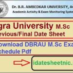 DBRAU MSc Exam Time Table 2021