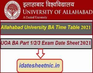 Allahabad University BA Exam Scheme 2022