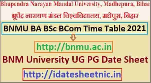 BNMU Time Table 2021