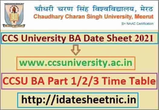 CCS University BA Date Sheet 2021