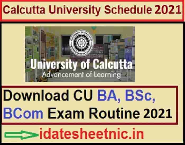 Calcutta University Exam Schedule 2021
