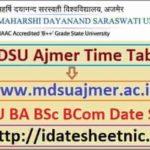 MDSU BA BSc BCom Exam Date Sheet 2021