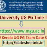 MGU Kerala UG PG Date Sheet 2021