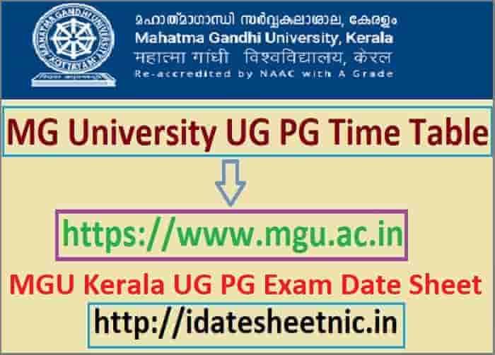 MG University Time Table 2021