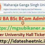 MGSU BA BSc BCom Exam Hall Ticket 2021