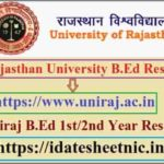 Rajasthan University B.Ed Result 2020