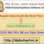PDUSU BA BSc BCom Exam Date Sheet 2021