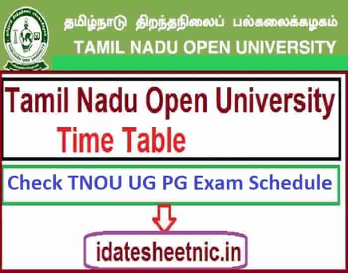 TNOU Time Table 2021