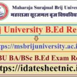 Brij University B.Ed 1st 2nd Year Result 2021