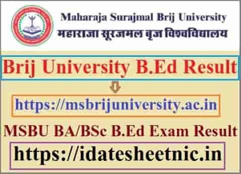 Brij University B.Ed Result 2021
