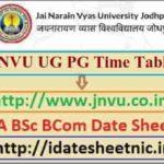 JNVU BA BSc BCom Date Sheet 2021