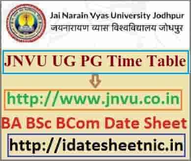 JNVU Time Table 2021