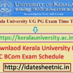 Kerala University UG PG Date Sheet 2021