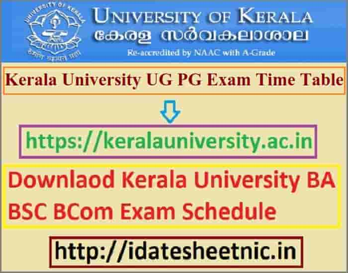 Kerala University Time Table 2021