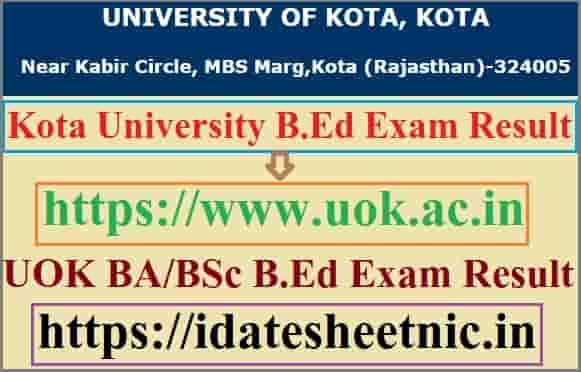 Kota University B.Ed Result 2021