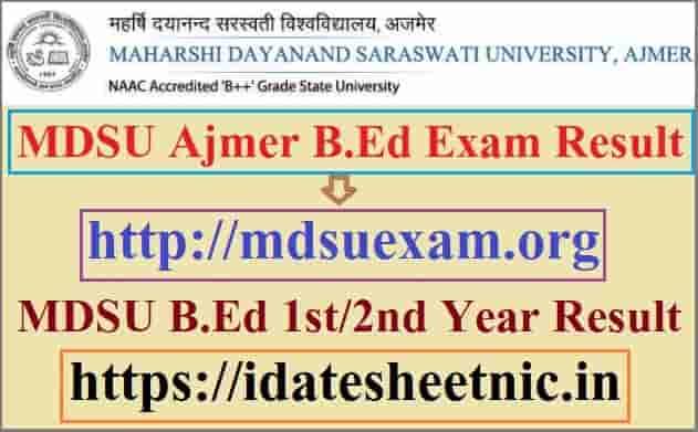 MDSU Ajmer B.Ed Result 2020