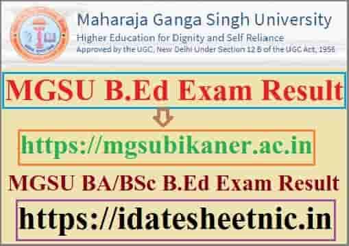 MGSU B.Ed Result 2021