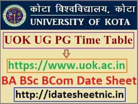 UOK Time Table 2021