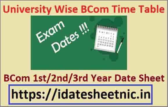 BCom Part 1/2/3 Exam Date Sheet 2021