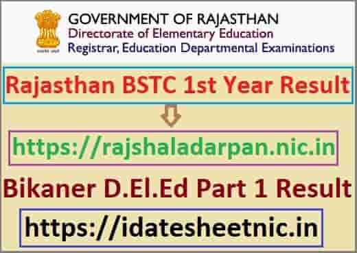 Rajasthan BSTC 1st Year Result 2021
