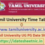 Tamil University UG PG DDE Date Sheet 2021