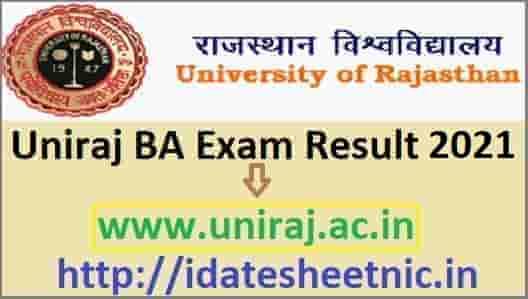 Uniraj BA Result 2021