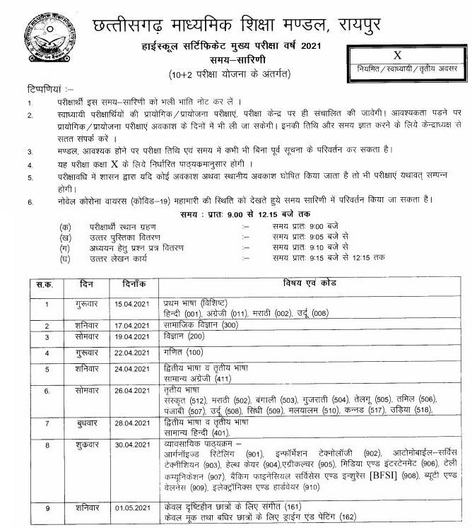 CG Board 10th Exam Date Sheet 2021