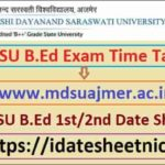 MDSU B.Ed Part 1/2 Exam Date Sheet 2021