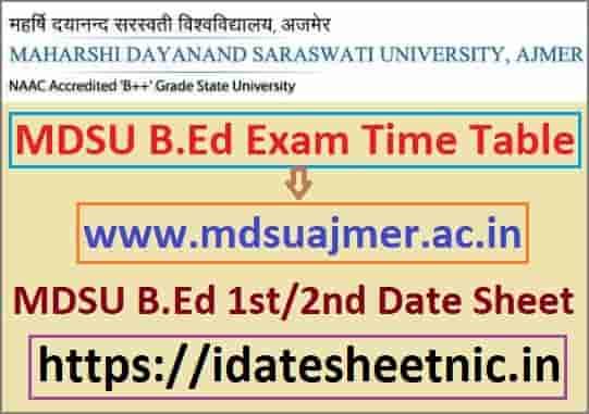 MDSU B.Ed Part 1/2 Exam Date Sheet 2021