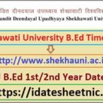 PDUSU B.Ed Part 1/2 Exam Time Table 2021