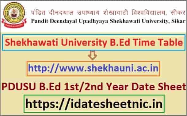 PDUSU B.Ed Part 1/2 Exam Time Table 2021