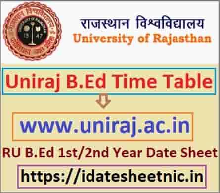 RU B.Ed Part 1/2 Exam Time Table 2021