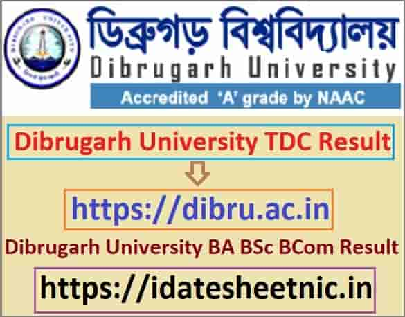 Dibrugarh University TDC Result 2021