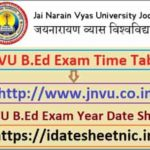 JNVU B.Ed Exam Date Sheet 2021