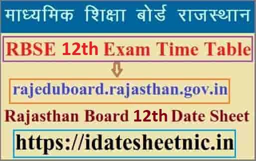 Rajasthan Board 12th Exam Date Sheet 2021