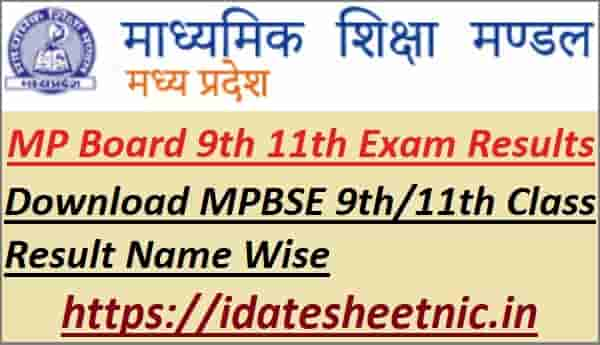 MPBSE 9th 11th Class Result 2021 Name Wise