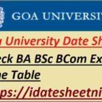 Goa University BA BSc BCom Time Table 2021