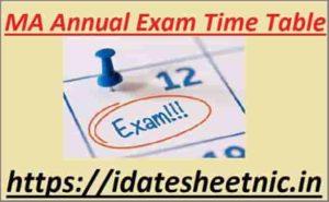 MA Exam Date Sheet 2021